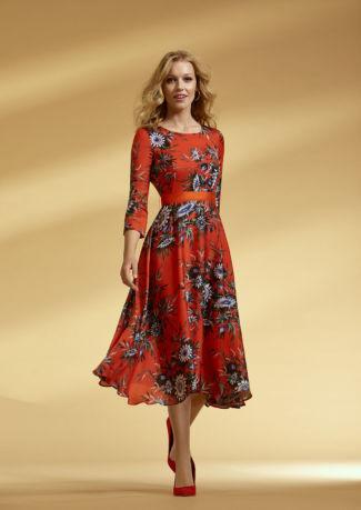 Vestido midi en satén estampado floral